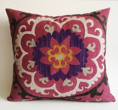 Sukan / Vintage Hand Embroidered Silk Suzani Pillow Cover - 20x18 inch Purple, Yellow, Soft Green, Egg Yellow, Beige, Black, Dirty Red Color. $169.95, via Etsy.