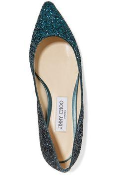Jimmy Choo - Romy Dégradé Glittered Leather Point-toe Flats - Teal - IT38.5