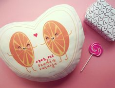 Cojín Corazón Eres mi media naranja por dibucos en Etsy