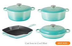 Cast Iron in Cool Mint   .   .   .  Le Creuset, maker of the worlds most trusted and treasured premium cookware, is proud to announce the launch of its newest color, Cool Mint, available exclusively at Le Creuset Outlet store locations.