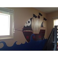 Curling waves like this but the silhouette pirate ship. Sea Murals, Diy Wall Art, Kids Bedroom, Pirates, Playroom, Pirate Ships, Curling, Illustration, Whale