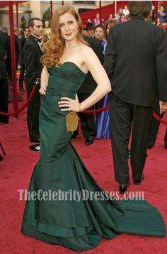 Amy Adams Dark Green Formal Dress Oscar 2008 Red Carpet Dresses - TheCelebrityDresses