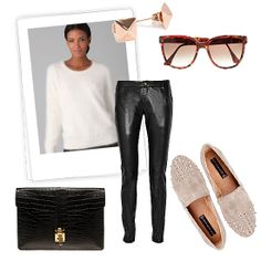 A creamy mohair sweater has a quintessentially Winter feel. Contrast the cozy topper with slick leather pants and studded loafers, then add in a pair of pretty White Outfits, Cool Outfits, Rocker Look, Studded Loafers, Edgy Look, Fashion Books, Winter White, Dress To Impress, Winter Fashion
