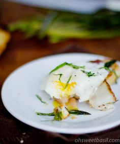 Sweet Basil,  Asparagus and Egg Crostini