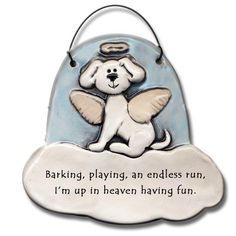 Dog+in+Heaven+Barking,+Playing+up+in+Heaven+Ceramic+Ornament+for+Dog+Lover