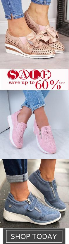 Women's Fashion Wedge Heel Bowknot Hollow-out Sneakers - Flats - Zapatos Flat Abs Workout, Fashion Heels, Bra Styles, Comfortable Shoes, Chic Outfits, Wedge Heels, Plus Size Fashion, What To Wear, Shoe Boots