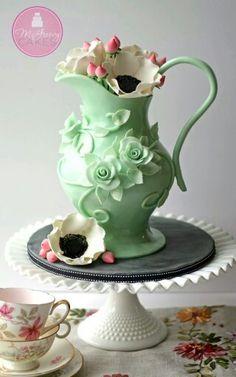 Green Flower Vase cake