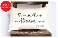 Mr & Mrs Personalized pillow Wedding gift  Anniversary gift