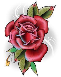 Neotraditional rose by Darin Blank. Instagram: @darinblanktattoos