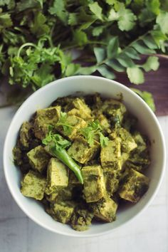 Cilantro Chili Tofu #tofu #coconutoil #scallions #curry #ginger #garlic #cilantro #vegan #glutenfree
