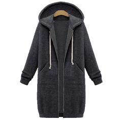 Oversized 2017 Autumn ZANZEA Women Casual Long Hoodies Sweatshirt Coat  Pockets Zip Up Outerwear Hooded Jacket Plus Size Tops 560e6673e348