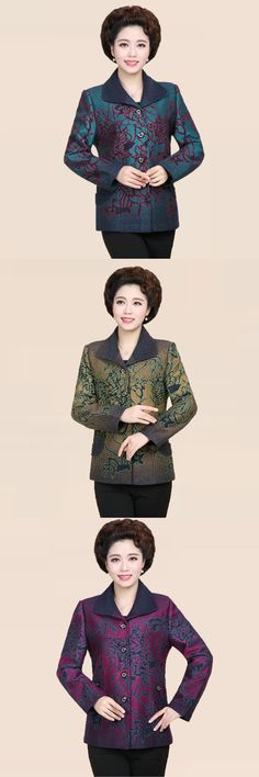 Spring Women's Floral Jackets Chinese Elegant Middle aged Coat Mother's Fall Blazers Jacket Turn-down Coat Mom Chaquetas Mujer