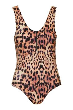 Animal Print Zip Detailed Body - Topshop