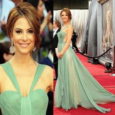 Custom Made Maria Menounos 84th Oscar  A-Line V-Neck Chiffon Backless Red Carpet Celebrity Dresses  sequin gowns gown