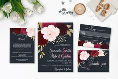 Navy Burgundy Wedding Invitation Suite Printable Marsala Pink Autumn Wedding…