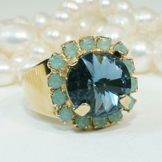Mint and Navy  adjustable cocktail ring....bring on the Jeans....