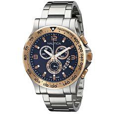 beb473928e3 Nautica Men s Chrono Analog Display Japanese Quartz Silver Watch