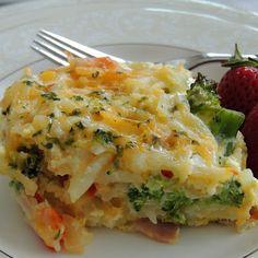 Potato, Broccoli, Pepper Jack, and Egg casserole (minus the ham)