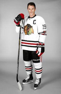 Jonathan Toews models the Chicago Blackhawks Winter Classic jersey. Photo credit to the Chicago Blackhawks.