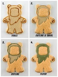 Star Wars Ewok Cookies with Printable Templates - Star Wars Cookie - Ideas of Star Wars Cookie - ewok cookies body first steps Fancy Cookies, Iced Cookies, Cut Out Cookies, Cute Cookies, Royal Icing Cookies, Sugar Cookies, Star Wars Cookies, Star Wars Cake, Star Wars Party