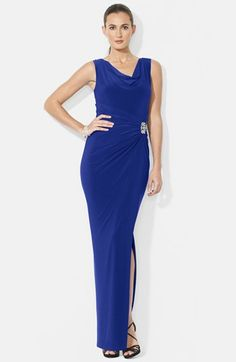 Lauren Ralph Lauren Sleeveless Stretch Jersey Cowl Neck Gown (Regular & Petite) available at #Nordstrom
