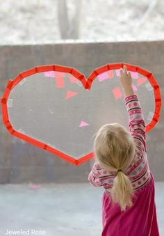 Sticky heart collages that double as beautiful suncatchers once kids are done creating- FUN! - pinned by @PediaStaff – Please Visit ht.ly/63sNtfor all our pediatric therapy pins
