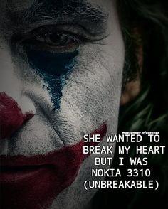 #UNBREAKABLE_MOBILE #LAUGH_ARENA # Joker Quotes, My Heart Is Breaking, Movie Posters, Instagram, Film Poster, Billboard, Film Posters