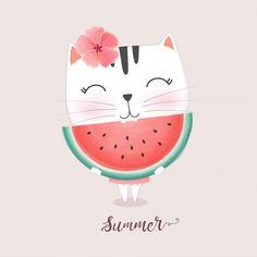 Watermelon Drawing, Watermelon Illustration, Watermelon Art, Cute Illustration, Cartoon Girl Drawing, Cat Drawing, Pomegranate Art, Eating Watermelon, Watercolor Fruit