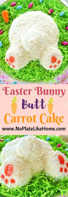 This adorable Easter Bunny Butt Carrot Cake on grass tutorial comes with a delicious coconut adorned carrot cake and traditional cream cheese icing recipes. It is a fun baking project to do with your kids. Pin for Easter!