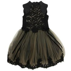 Richmond Jr - Khaki and black embroidered tulle party dress - 53693