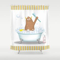 Monster Bathroom. Monster Shower Curtain for the Kids Bathroom.