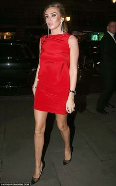 Petra Stunt wears crimson minidress for date night with husband James | Mail Online