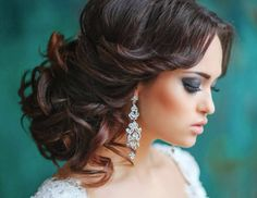 curly wedding updo for medium hair