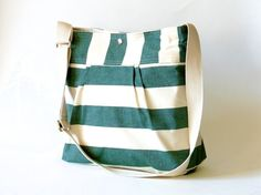 $59.00 I love a bag big enough for a few textbooks. by Ika Bags http://www.etsy.com/listing/69461420/stockholm-large-stripes-green-and-cream