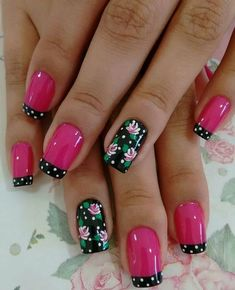 We have put together the top nail art designs. You should definitely check them out. Flower Nail Designs, Nail Designs Spring, Nail Art Designs, Fancy Nails, Pretty Nails, Hot Nails, Hair And Nails, Fingernail Designs, Pink Nail Art