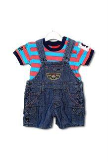 Set T-shirt en Jeans Tuinbroek <BR>Blauw en Rood