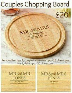 Chopping Board can be personalised.