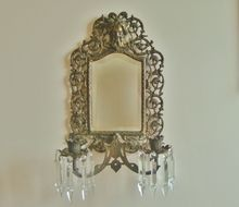 Antique 19c Bradley & Hubbard Beveled Mirror & Wall Lamp Sconce w/ Prisms Lusters North Wind Victorian Aesthetic Eastlake B&H B & H Cast Iron w/ Brass Finish Art Nouveau