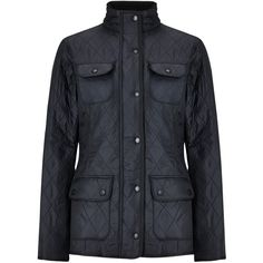 Barbour Utility Polarquilt Jacket, Navy ($170) ❤ liked on Polyvore featuring outerwear, jackets, barbour, stand collar jacket, short-sleeve jackets, diamond quilted jacket and utilitarian jacket