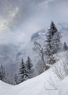 Snow storm over the Eiger, Switzerland