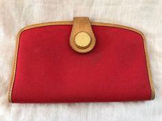 Vintage Dooney and Bourke Clutch Checkbook Wallet Red Brown Leather RIRI Zipper #DooneyBourke #checkbookwallet