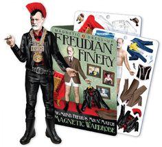 Sigmund Freud magnétique et sa garde robe. Ce kit contient divers tenues et accessoires pour relooker Sigmund! Dimension du magnet Sigmund Freud: Long. 18,5 cm X Larg. 5,5 cm.