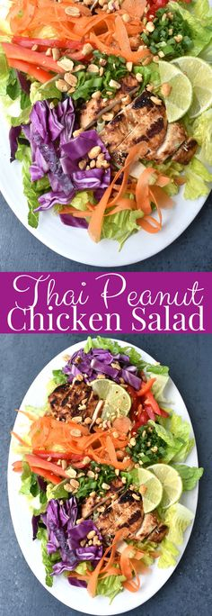 Thai Peanut Chicken Salad is loaded with Thai peanut grilled chicken, rainbow vegetables such as red pepper, carrots, green onion and red cabbage and topped with peanut dressing, lime wedges and peanuts! #thai #peanut #salad #chicken #thaifood #healthy #grill #grilling #cleaneating Vegetable Salad, Vegetable Recipes, Chicken Recipes, Roasted Vegetables, Fruits And Veggies, Asian Chopped Salad, Corn Tomato Salad, Thai Peanut Chicken, Caesar Pasta Salads