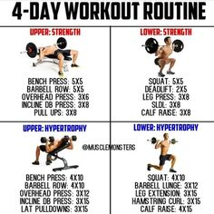 Here's an example of a Workout by where you can hit ea… Here's an example of a Workout by where you can hit each muscle group per week without living in the gym_This is a variation of an Upper-Lower where we 4 Day Workout Routine, Gym Workout Tips, Weight Training Workouts, Dumbbell Workout, Week Workout, 4 Day Split Workout, Gym Training, Ab Workouts, Exercises