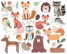 Wald-Stammes Tiere Clipart - 300 DPI-Vektor, PNG und JPG-Dateien - süßen Waldtiere, Fuchs, Eule, Stamm ClipArt - This listing is for a set of 26 hand drawn woodland forest animals and design elements. Cute Animal Illustration, Cute Animal Drawings, Woodland Illustration, Animal Illustrations, Art Drawings, Forest Animals, Woodland Animals, Woodland Forest, Woodland Critters