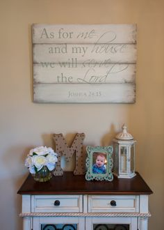 Joshua 24:15 Whitewashed Sign with Duck Egg Blue by DRSignsDesigns