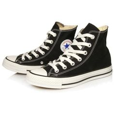 Converse black hi tops fashion trainers ($81) found on Polyvore