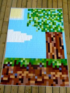 """Cora Quilts: Minecraft Quilt - This is absolutely fabulous! My daughter would LOVE this on her bed! Oh how I wish I knew how to quilt! I'm working my way up to it though. I'm keeping this one for the """"to-do"""" list!"""