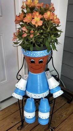Flower Pot People / Pot Person Planter / by RusticMtnGirlCrafts, $18.00