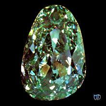 This almond-shaped stone is the largest apple-green diamond known. Its green color is attributed to the crystal's close contact with a radioactive source at some point in its lifetime. The Dresden Green, which probably originated in a rough crystal of 100 carats or more, is unique among world-famous gems for not only its color, but also its elongated shape.